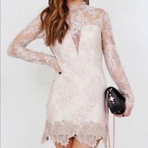New Saylor FP Nude Lace Cocktail Mini Dress